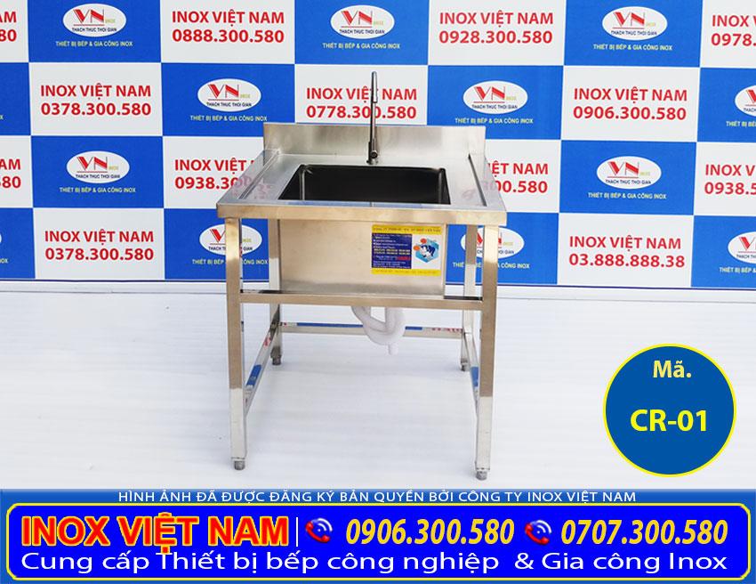 Bồn rửa chén đơn có chân, chậu rửa đơn inox 304 cao cấp của Inox Việt Nam (ảnh thật tế)