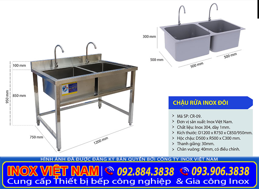 Kích thước bồn rửa chén 2 ngăn, chậu rửa đôi inox công nghiệp CR-09.