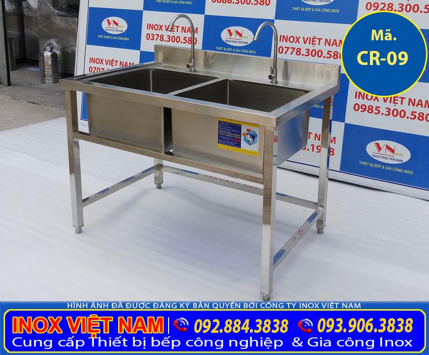 Báo giá bồn rửa chén inox 2 ngăn có chân (Ảnh thật tế).