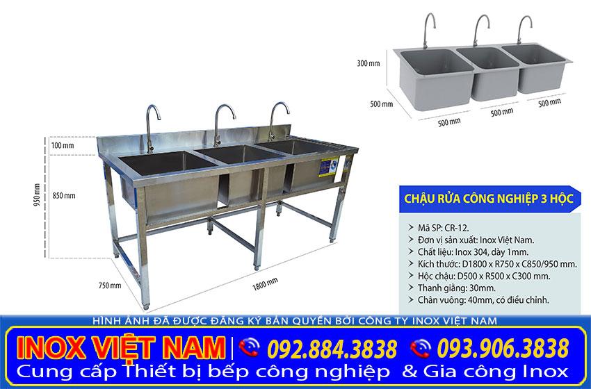 Kích thước bồn rửa chén inox 3 ngăn, chậu rửa công nghiệp inox 3 hộc CR-12.