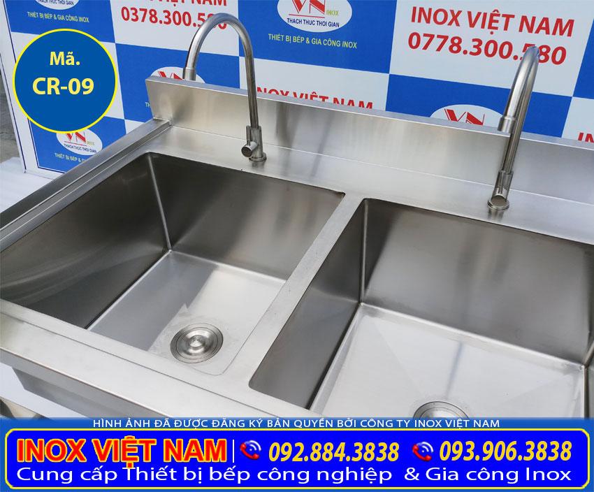 Báo giá chậu rửa chén inox 304 2 ngăn, bồn rửa chén đôi inox 304 (Ảnh thật tế).