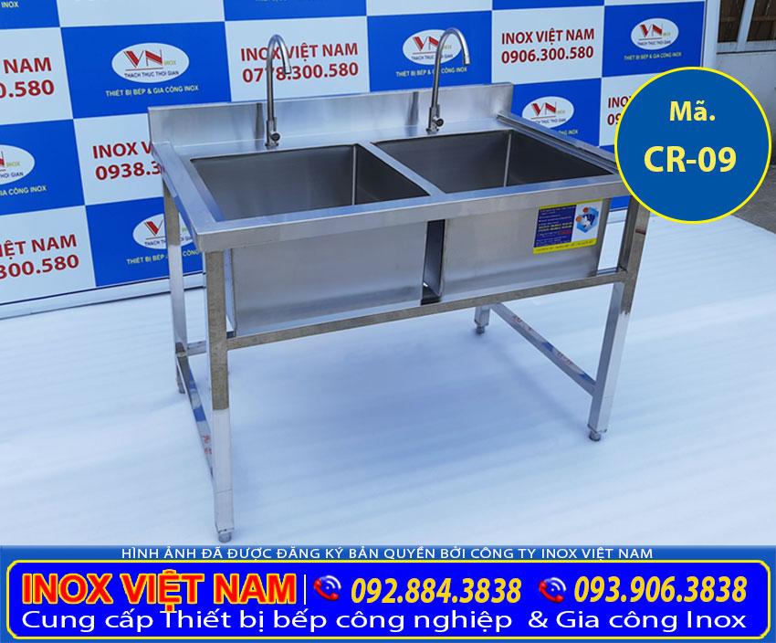 Gia công kích thước bồn rửa chén inox 2 ngăn,chậu rửa đôi inox 304 (Ảnh thật tế).