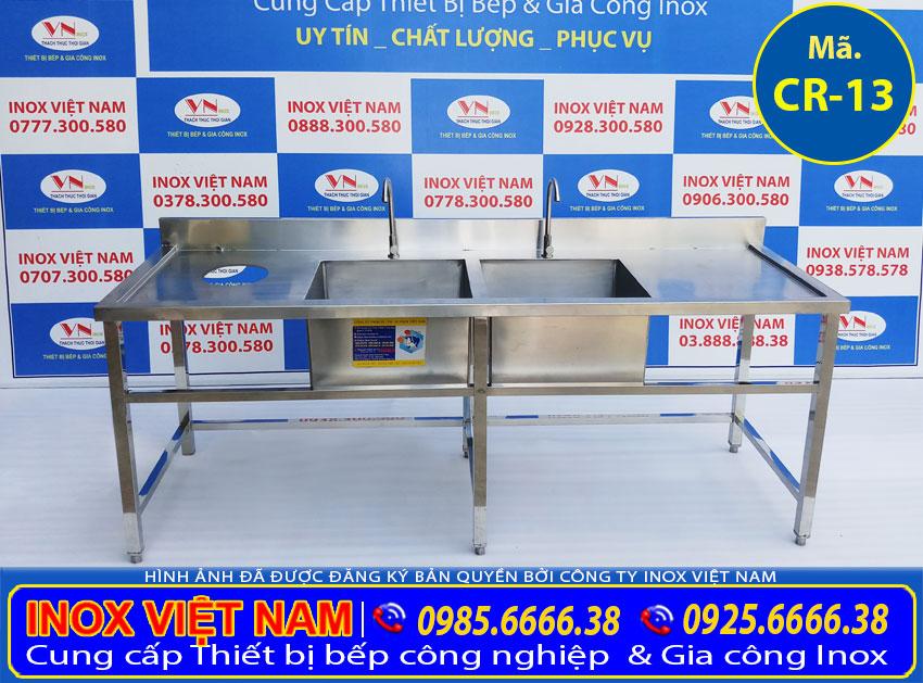 Chậu rửa chén 2 ngăn inox bát bẩn có lỗ xả rác, bồn rửa chén đôi inox 304 cao cấp Inox Việt Nam ( Ảnh thật tế ).