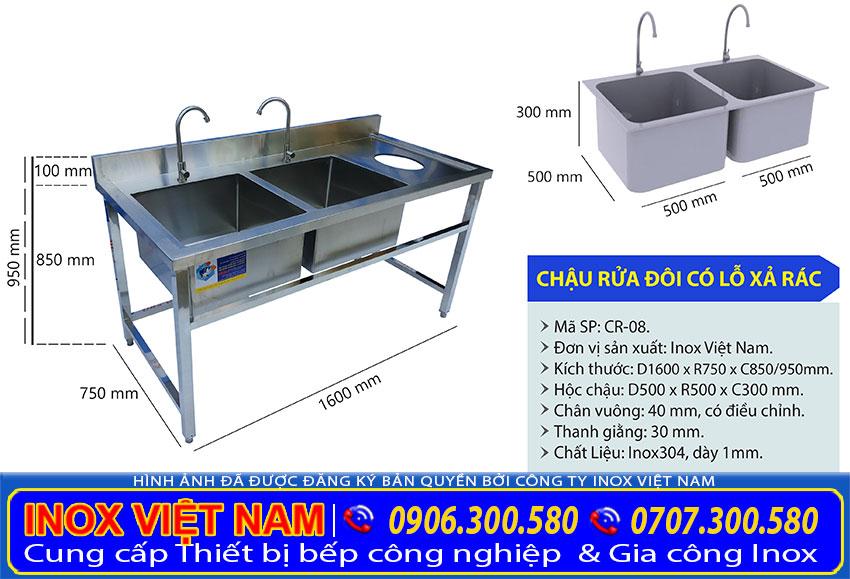 Thông số kỹ thuật và tỷ lệ kích thước chậu rửa inox công nghiệp hộc lớn hộc nhỏ.