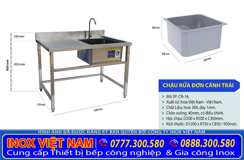 Kích thước chậu rửa inox đơn, bồn rửa chén đơn inox CR-16 .