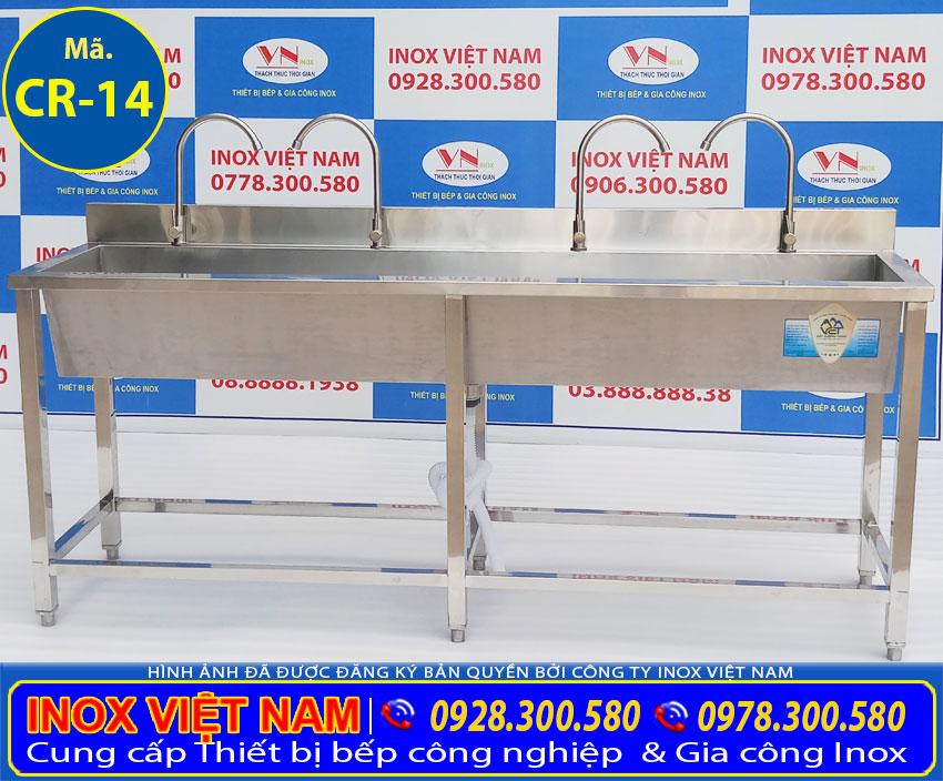 Báo giá máng rửa tay inox 304, bồn rửa tay inox cho trẻ mầm non (Ảnh thật tế).