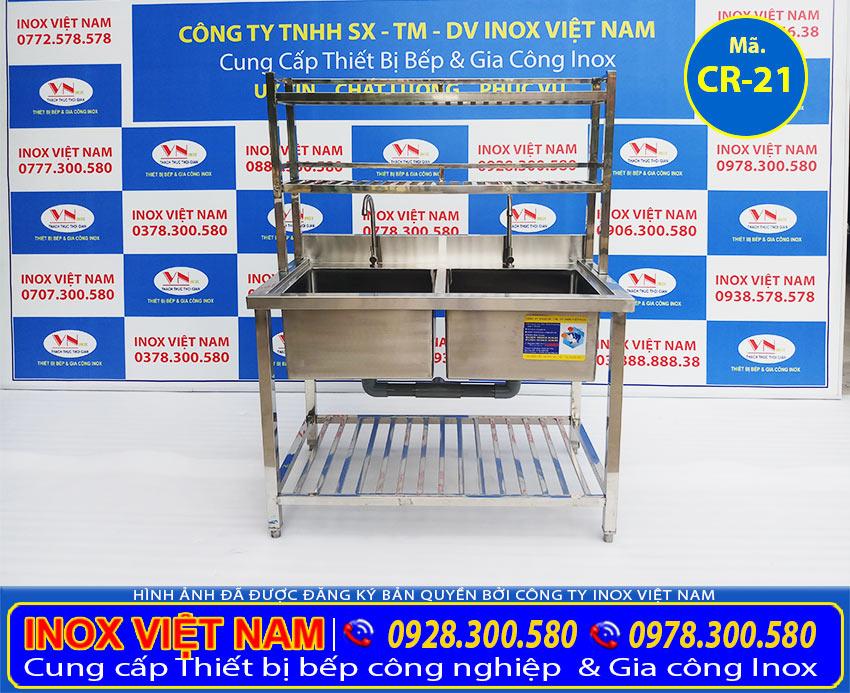 Bồn rửa chén inox công nghiệp 2 hộc với thiết kế đẹp sang trọng.