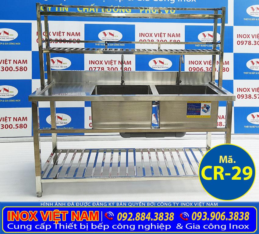 Địa chỉ bán bồn rửa chén inox có chân, chậu rửa 2 hộc có kệ trên kệ dưới CR-29 giá tốt chất lượng.