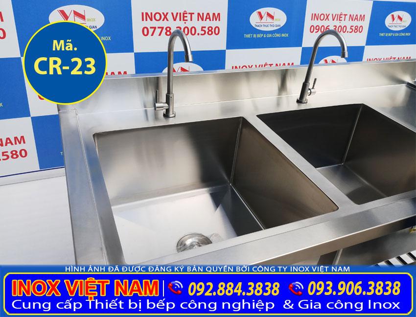 Gia công kích thước bồn rửa chén 2 ngăn, chậu rửa inox công nghiệp. Với kích thước và kiểu dáng theo yêu cầu.