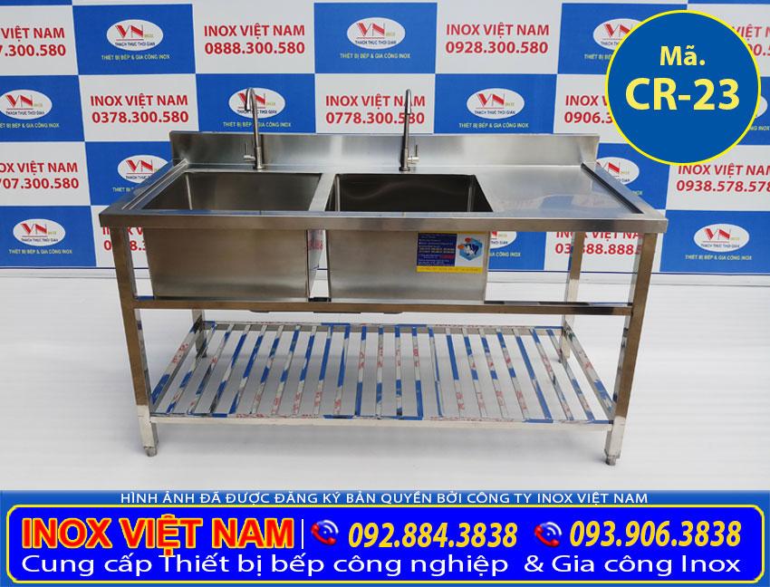Địa chỉ mua chậu rửa công nghiệp 2 ngăn có kệ nan dưới và bàn rửa cánh phải CR-23 giá tốt tại TPHCM.