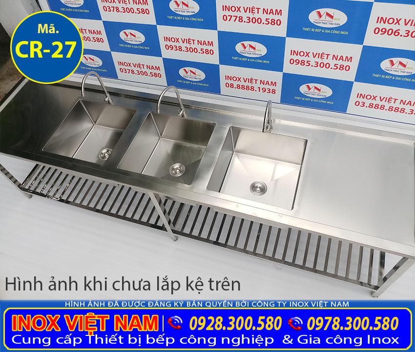 Địa chỉ mua chậu rửa inox công nghiệp 3 hộc, bồn rửa chén inox 3 ngăn có chân chất lượng tạ TPHCM,