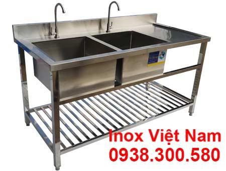 Bồn Rửa Chén Inox 2 Ngăn Có Kệ Nan Dưới Và Bàn Rửa Cánh Phải CR-23