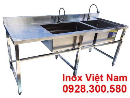 Bồn Rửa Chén Inox 2 Ngăn Lớn Nhỏ Có Bàn Rửa Cánh Trái CR-32