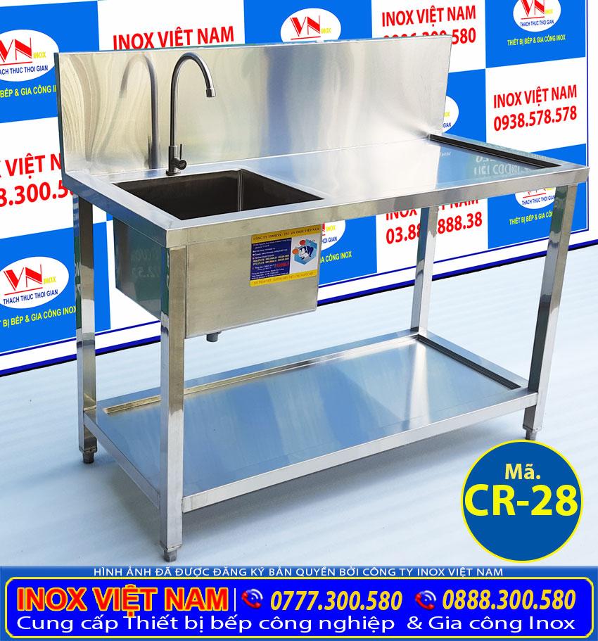Chậu rửa bát đơn inox 304 1 hộc kệ phẳng dưới CR-28. Với thiết kế tiện lợi, sang trọng, chất liệu cao cấp bền đẹp.