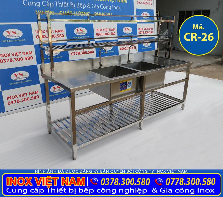 Địa chỉ bán chậu rửa chén nhà hàng, bồn rửa chén inox 2 ngăn lớn có kệ trên và kệ dưới và bàn rửa 2 cánh CR-26.