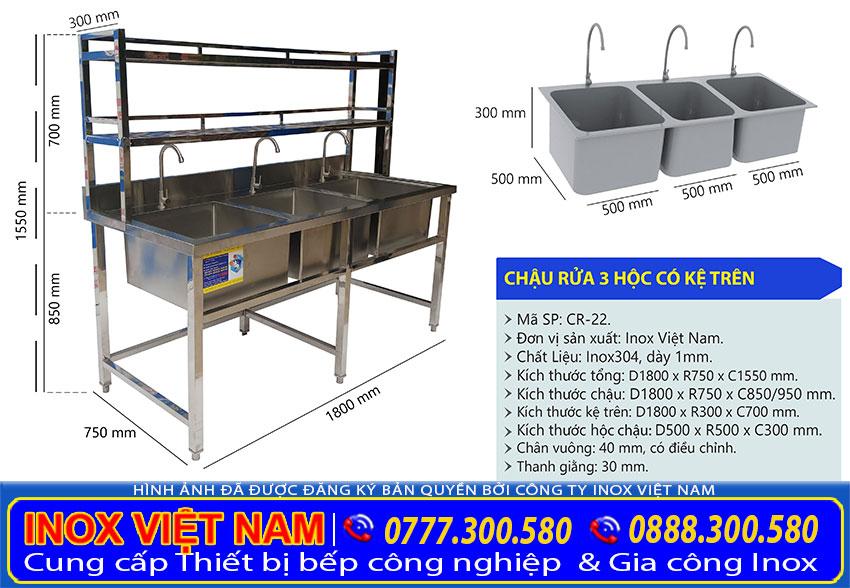 Kích thước chậu rửa 3 ngăn, bồn rửa chén inox có chân 3 ngăn CR-22.