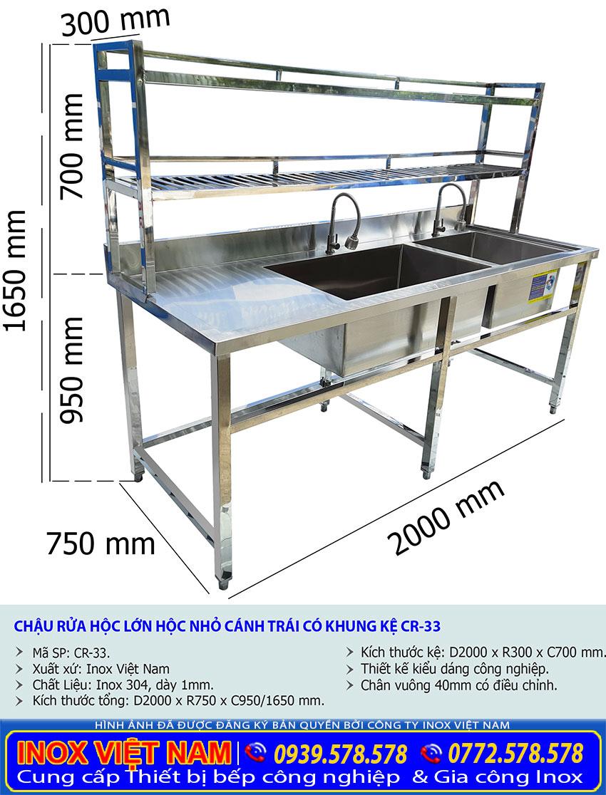 Kích thước chậu rửa đôi inox, bồn rửa chén inox 2 ngăn hộc lớn nhỏ có kệ trên CR-33.