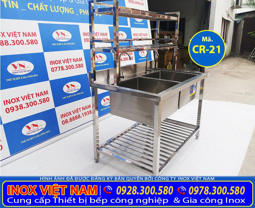 Mua bồn rửa chén inox có chân, chậu rửa công nghiệp 2 ngăn inox 304 giá rẻ tại TPHCM.