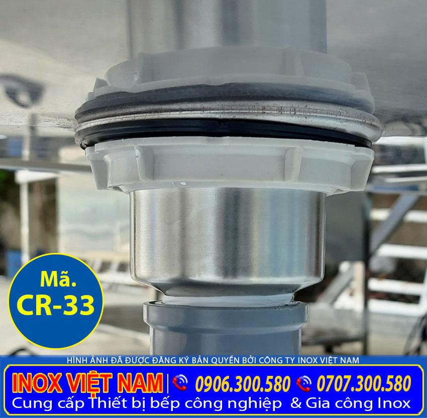 Chi tiết van đường ống thoát nước bồn rửa chén inox, chậu rửa inox công nghiệp.