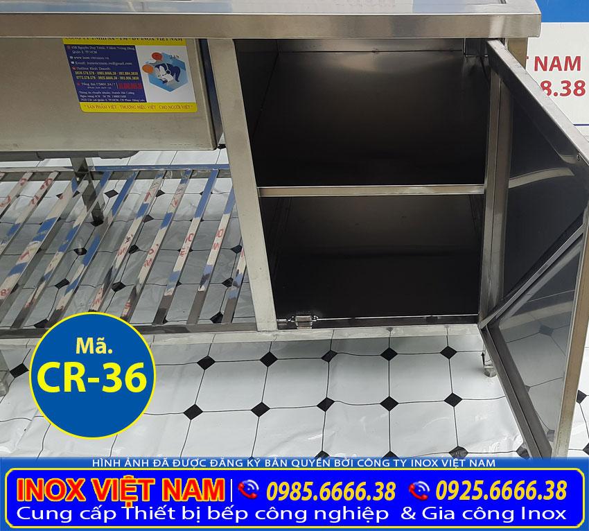 Chi tiết phần hộc tủ của chậu rửa công nghiệp 2 ngăn có kệ dưới và hộc tủ CR-36.
