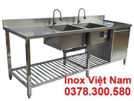 Bồn Rửa Chén Inox 2 Ngăn Có Kệ Dưới Và Hộc Tủ CR-36